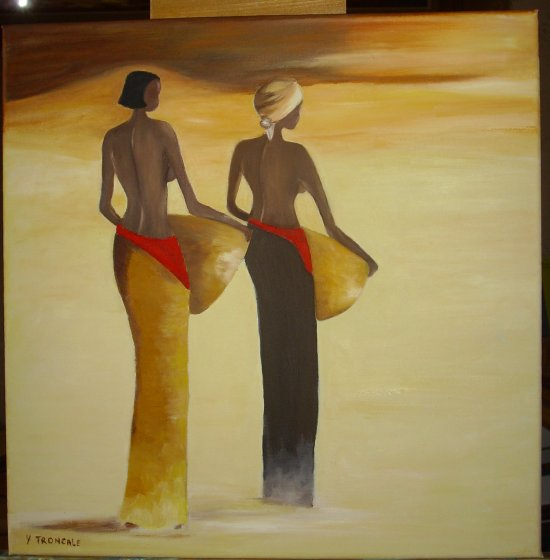 PEINTURE  A L HUILE    SILHOUETTES  AFRICAINE