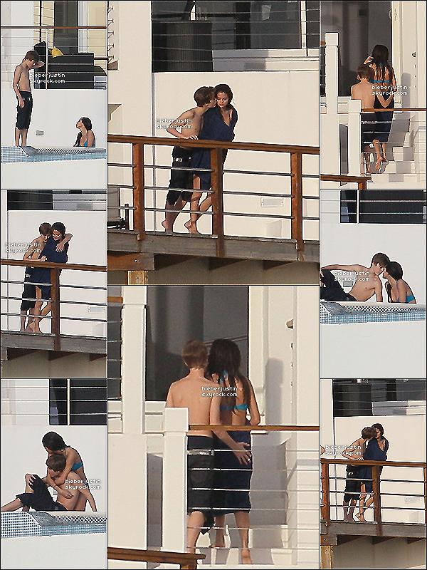 02/01/11 | Justin et Selena Gomez prenant du bon temps et s'embrassant dans la piscine de St Lucie