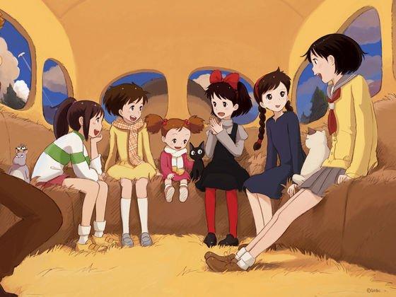 Les héroïnes du Studio Ghibli abord du chat-bus