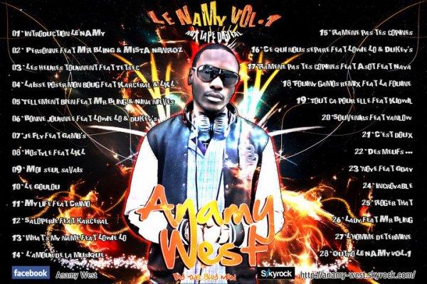 """Pochette arrière des titres de la double mixtape digital """"LE NAMY VOL.1"""" By THE SHYMAN"""