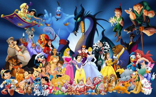 les personnage de dessins animés Disney