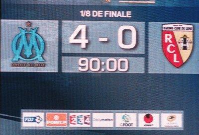 1/8 ème de finale coupe de la ligue O.M-RC Lens : 4-0