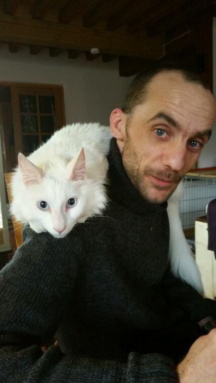 Mon cheri Sébastien  et yko son chat