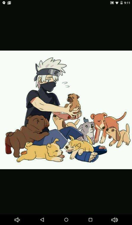 Kakashi avec tous ses chiens XD