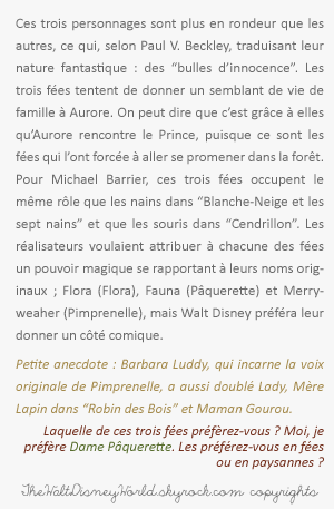 Fiche Personnages : Les trois fées (La Belle au Bois Dormant).