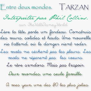 Fiche Chanson (B.O.) : Entre deux mondes (Tarzan).