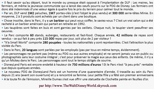 """Emission : """"DisneyLand Paris et ses secrets"""", présentée par Mireille Dumas."""
