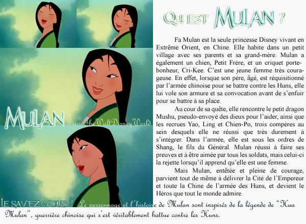 Fiche Personnage : Mulan.