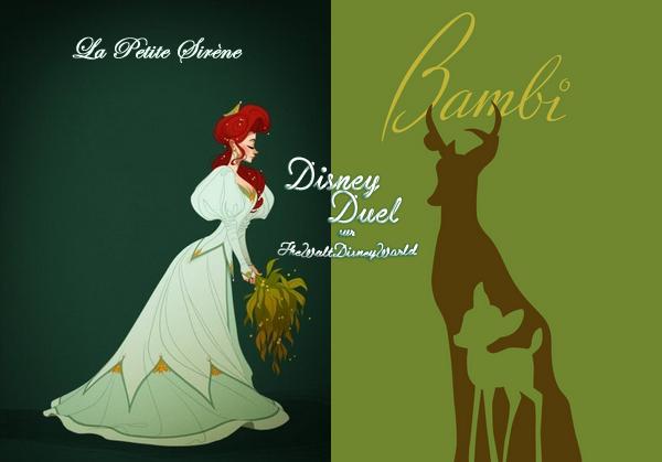 Disney Duel : Ariel (La Petite Sirène) / Panpan (Bambi).