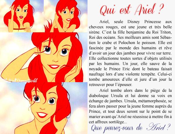 Fiche Personnage : Ariel (La petite sirène).