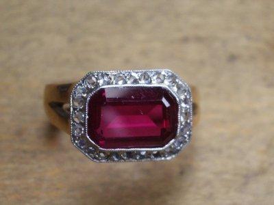 Bague Rubis diamants or unique