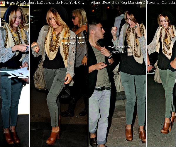 Arrivant  A l'aéroport de NYC Puis Allant chez Keg Mansion à Toronto Canada : :  . 18/06/2010 .      Pour cause des Much Music Video Awards 2010 Miley était à l'aéroport LaGuardia de New York City direction le Canada. Le soir, elle a été vue à Toronto, Canada se rendant dîner chez Keg Mansion avec ses sabots Chanel, son meilleur ami et son mec.