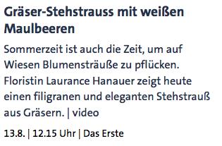 Gräser-Stehstrauss mit weißen Maulbeeren - ARD-Buffet :: Kreativ