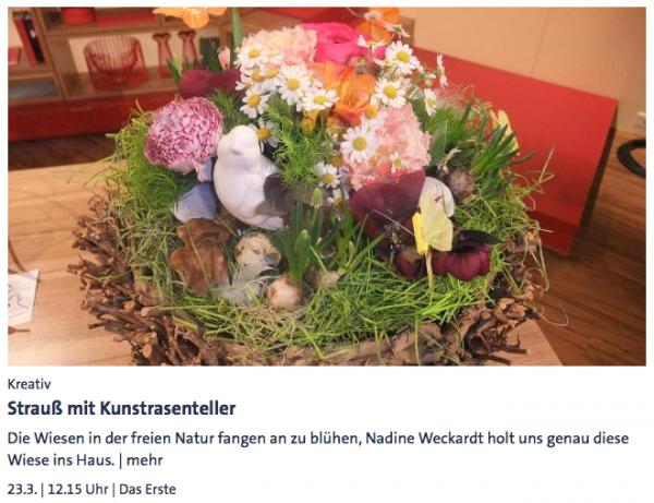 Strauß mit Kunstrasenteller (Nadine Weckardt) - ARD-Buffet :: Kreativ