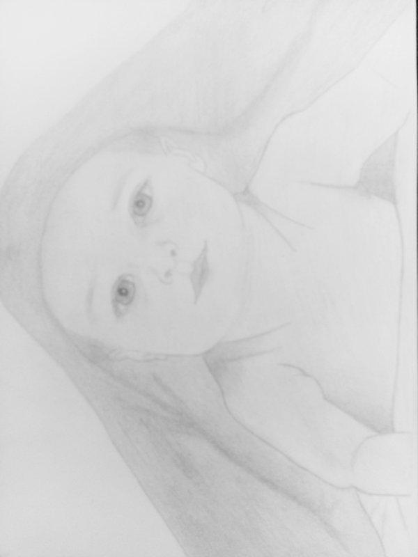 Deuxième dessin d'un bébé inspiré d'une photo 💗