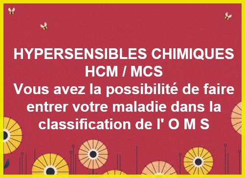 HYPERSENSIBLES CHIMIQUES MULTIPLES - APPEL A CONTRIBUTION PAR L'OMS