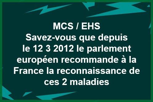 Reconnaissance de l'Hypersensibilité Chimique Multiple MCS et E.H.S par le parlement européen, mais.. ni par la France...ni par l' O.M.S. pour le moment !