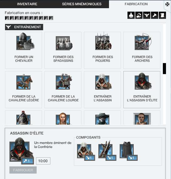 Assassin's Creed Project Legacy : Equipement-Fabrication