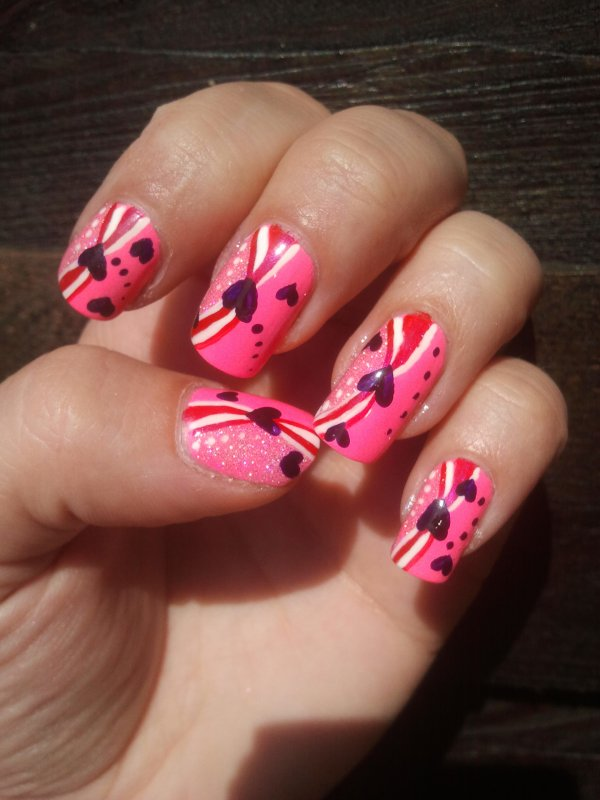 nail art rose fluo