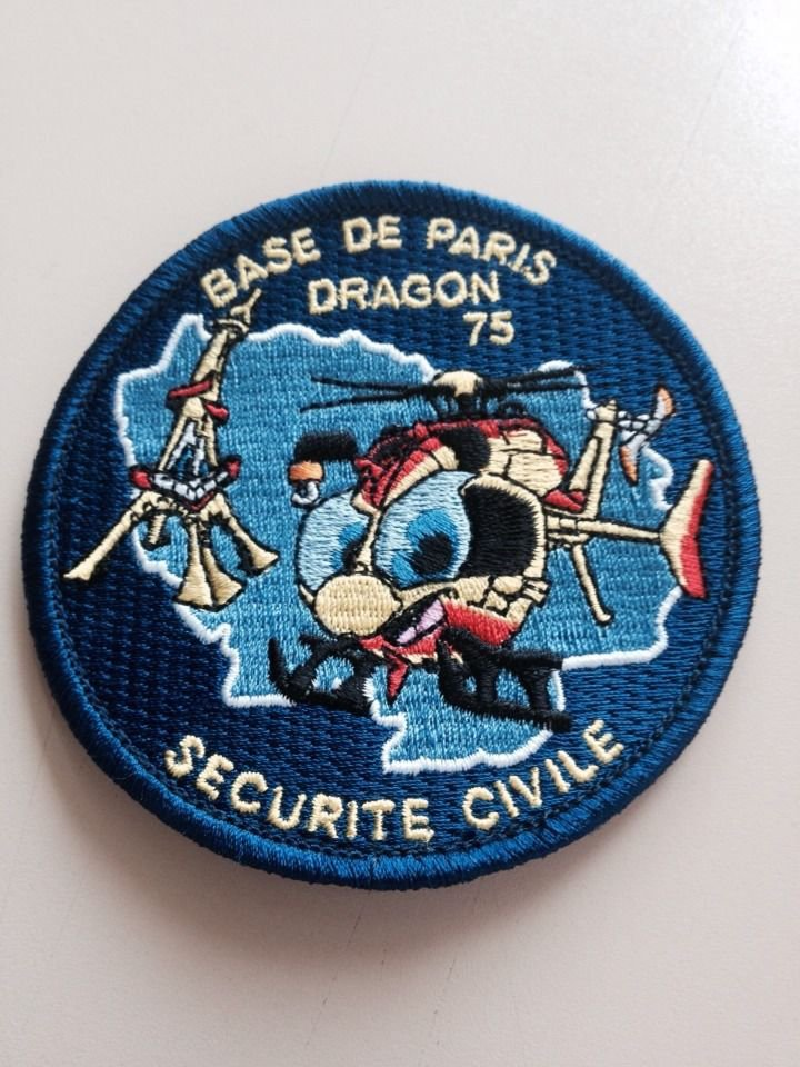 écusson , autocollant et dessin  Dragon 75 Base de Paris !!