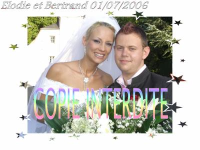 Elodie Gossuin et Bertrand à la Garden Party lors du mariage à Compiègne le  1er juillet 06