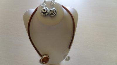 parure 2p cable 2mm argent strié +spirales
