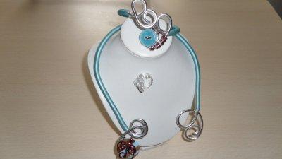 parure 3p spirales argent  4mm avec burna cord turquoise déco boutons