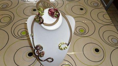 parure 3p spirales marron 3mm avec burna cord beige déco tortillons