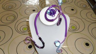 parure 3p spirales mauve 3mm avec burna cord violet déco tortillons et perle magique