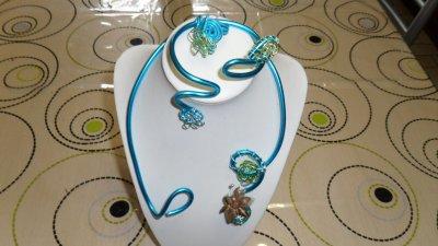 parure 3p spirales turquoise 4mm a déco tortillons et fleurs