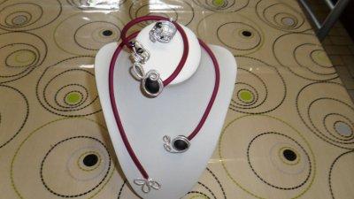 parure 3p  spirales argent ciselé  3mm avec burna cord  rosé déco perles