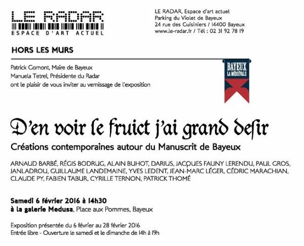 SAMEDI 6 février 2016 à la Galerie Medusa à 14h30 à Bayeux