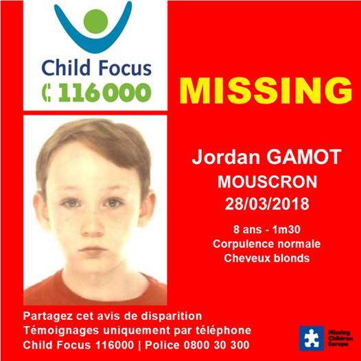 03 avril 2018 Les deux enfants disparus à Mouscron enlevés par leur mère, Jade et Jordan ...  Jade et Jordan GAMOT ont été retrouvés  SAINS ET SAUFS.  Merci à vous tous d'avoir partagé l'avis de disparition.
