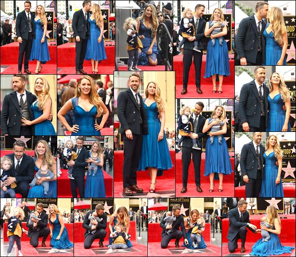 15.12.2016 ─ Blake Lively était présente sur le Walk of Fame pour célébrer l'étoile de son mari, dans Los Angeles.C'est la première sortie pour la famille complète... Accompagnée de leur enfants on peut voir Blake et Ryan très heureux, ils sont adorable ! Un top !