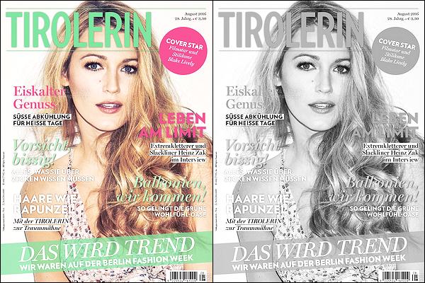 Blake Lively fait la couverture du mag « Tirolerin » du mois de Août 2016 !
