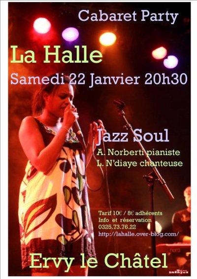 La Halle, concert Jazz Soul le Samedi 22 Janvier à 20h30