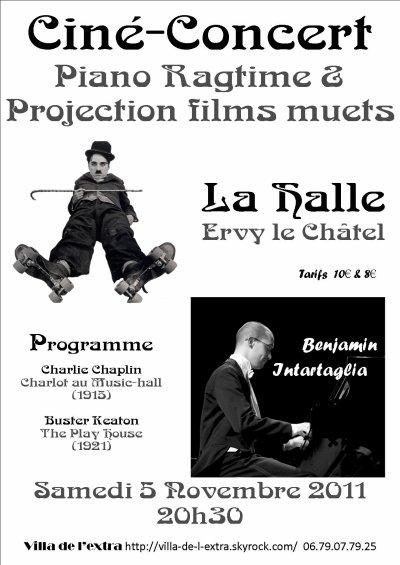 Le samedi 5 Novembre, 20h30 à la Halle, cinéma muet avec Benjamin INTARTAGLIA, pianiste ragtime