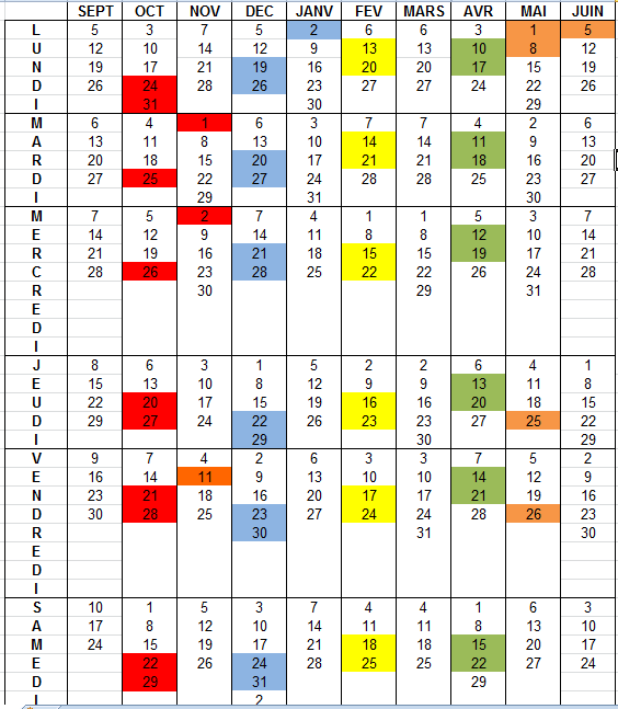 Calendrier des cours 2016/17