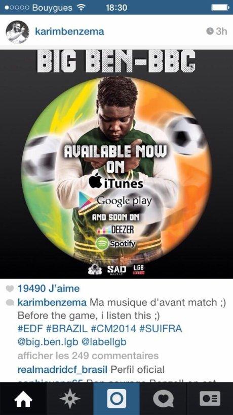 Karim Benzema - Partage sur son Instagram BBC by BIG BEN