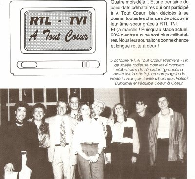 """ARTICLE SUR """" A TOUT COEUR"""" (  Février 1992 )"""