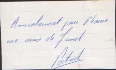 TON ECRITURE LE 27 FEVRIER 1973 (1ère DEDICACE)