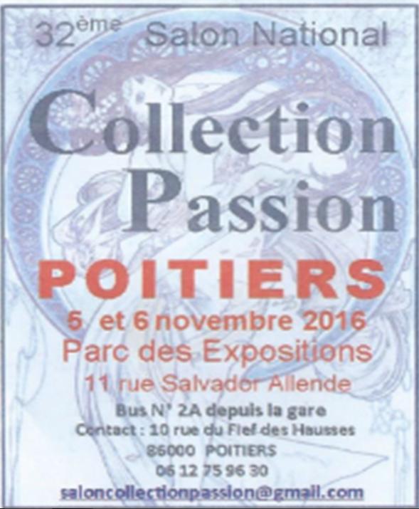 POITIERS les 5 er 6 novembre 2016 '(collection passion seront present avec notre feteforaineminiature