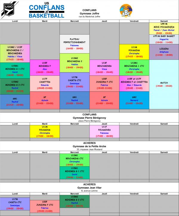 PLANNING ENTRAINEMENTS 2017-2018