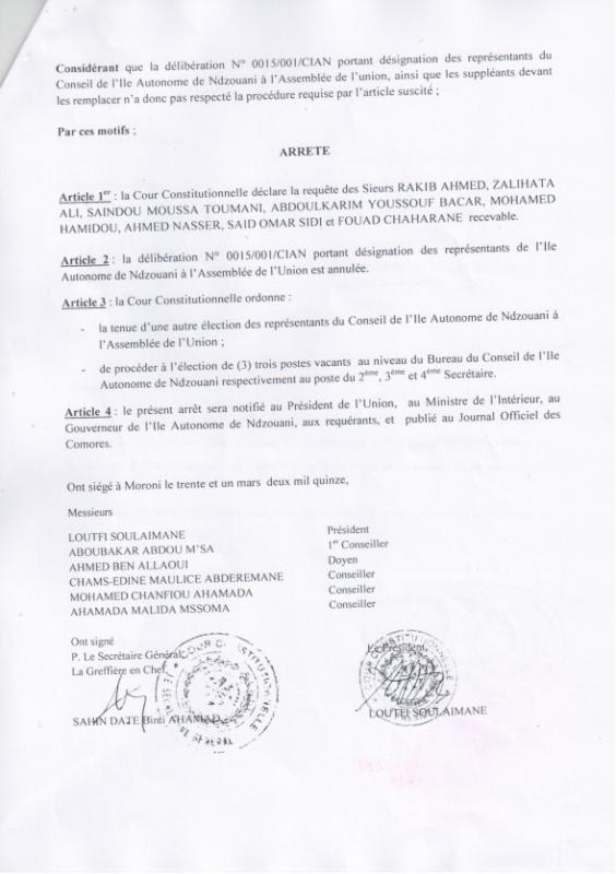 Anjouan-Dar-Swafa : La Cour constitutionnelle a invalidé les 3 Conseillers juwa devant siéger à l'assemblée de l'Union