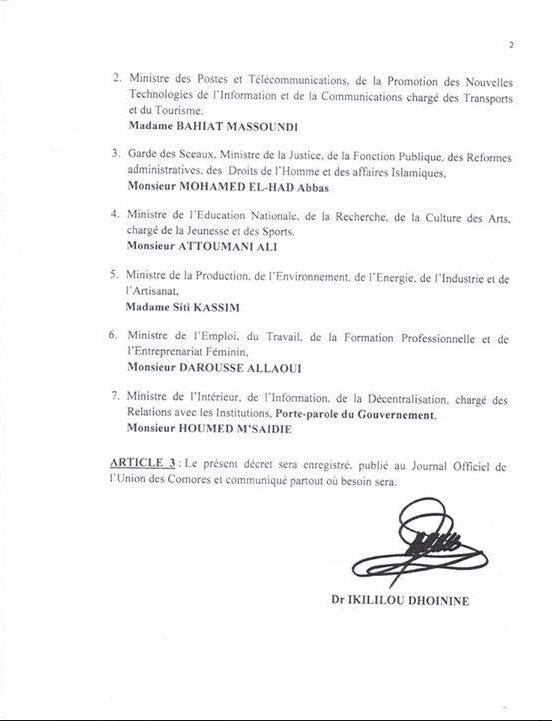 Composition du Gouvernement Ikililou III
