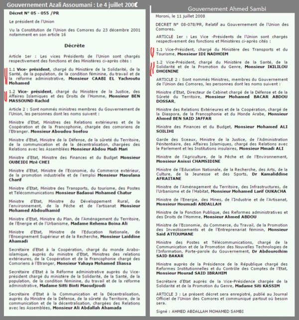 Pourquoi Ahmed Sambi avait deux Vice-présidents de 2006 à 2011 ?