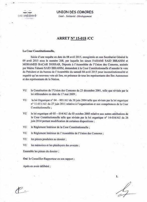 Election du Président de l'Assemblée Nationale : ARRET N°156018/CC