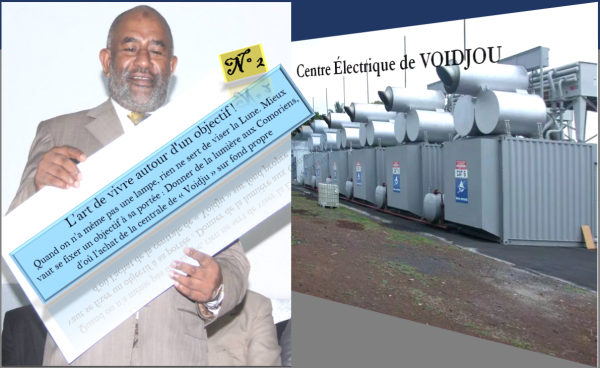 """Azali « 1999-2006 » : N°2 des Réalisations sur fond propre, la centrale électrique de """"Voidjou"""""""