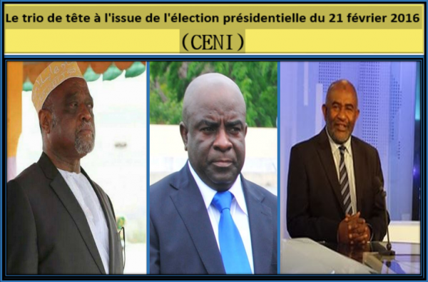 Le trio de tête à l'issue de l'élection présidentielle du 21 février 2016 ( CENI)