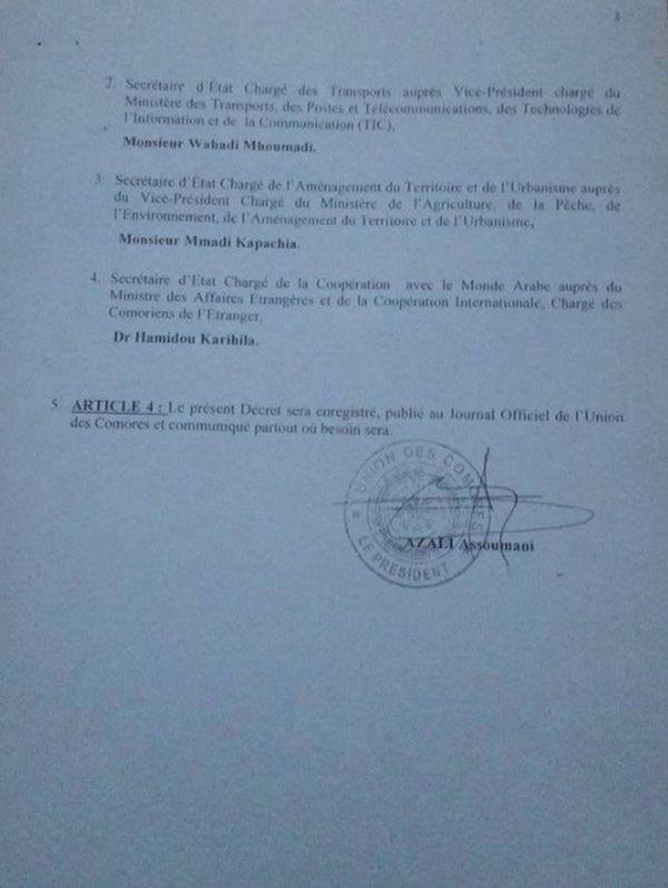 DECRET N° 16 - 95 / PR Relatif à la composition du Gouvernement et des Secrétariats d'Etat de l'Union des Comores